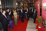In this Jan. 17, 2020, photo provided by Myanmar News Agency (MNA), Chinese President Xi Jinping, left, Myanmar President Win Myint, second from left, and Myanmar leader Aung San Suu Kyi, third from left, attend a ceremony to mark the Myanmar-China 70th Anniversary of Establishment of Diplomatic Relations in Naypyitaw, Myanmar.(Myanmar News Agency via AP)