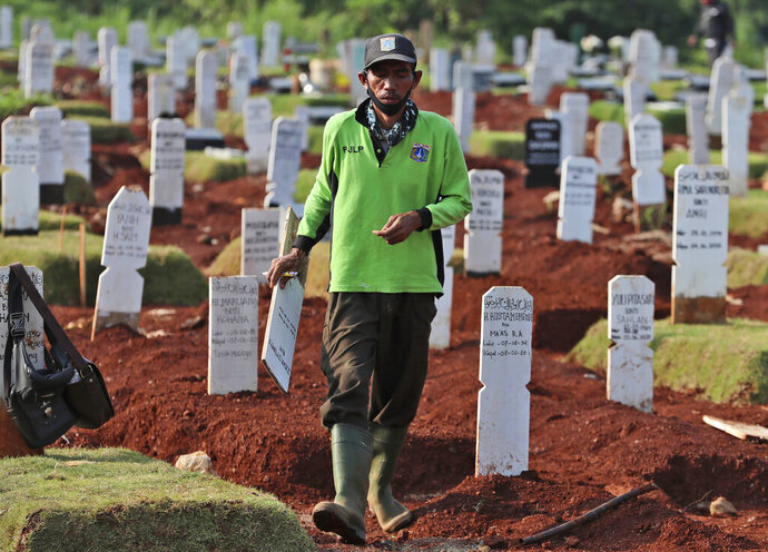 A worker walks among graves at a special cemetery for people who presumably died of COVID-19 at a cemetery in Jakarta, Indonesia Friday, June 12, 2020. As Indonesia's virus death toll rises, the world's most populous Muslim country finds itself at odds with protocols put in place by the government to handle the bodies of victims of the pandemic. This has led to increasing incidents of bodies being taken from hospitals, rejection of COVID-19 health and safety procedures, and what some experts say is a lack of communication from the government. (AP Photo/Achmad Ibrahim)