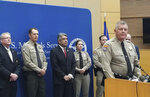 Arizona Department of Public Safety Col. Frank Milstead speaks at a news conference Thursday, Sept. 12, 2019 at the Sandra Day O'Connor Federal Courthouse in Phoenix about the capture of husband and wife fugitives. Blane and Susan Barksdale, who have been on the run for over two weeks, were taken into custody Wednesday in a rural community about 50 miles (80 kilometers) northeast of Phoenix. (AP Photo/Terry Tang)