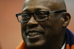 FILE - In this Nov. 30, 2013, file photo, NFL great Floyd Little talks to players on the sideline before a Syracuse against Boston College NCAA college football game in Syracuse, N.Y. Hall of Fame running back Little has entered hospice care, according to ex-Syracuse teammate Patrick Killorin. Killorin shared the update Saturday, Nov. 21, 2020, on Facebook, where he has provided periodic updates on Little's health since May when Little's bout with cancer became public. (AP Photo/Nick Lisi, File)