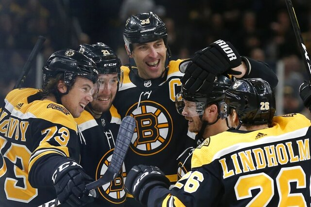 Boston Bruins' Nick Ritchie (21) celebrates his goal with Charlie McAvoy (73), Zdeno Chara (33), Par Lindholm (26) and Chris Wagner during the second period of an NHL hockey game against the Dallas Stars in Boston, Thursday, Feb. 27, 2020. (AP Photo/Michael Dwyer)