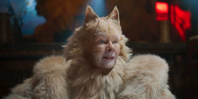 This image released by Universal Pictures shows Judi Dench as Old Deuteronomy in a scene from