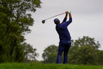 Phil Mickelson, of the United States, plays his shot from the 14th tee during the second round of the US Open Golf Championship, Friday, Sept. 18, 2020, in Mamaroneck, N.Y. (AP Photo/Charles Krupa)