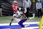 Northwestern defensive back Brandon Joseph (16) intercepts a pass intended for Ohio State wide receiver Garrett Wilson (5) in the end zone during the first half of the Big Ten championship NCAA college football game, Saturday, Dec. 19, 2020, in Indianapolis. (AP Photo/AJ Mast)