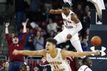 Boston College's Jairus Hamilton (1) celebrates a dunk during the second half of an NCAA college basketball game against North Carolina State in Boston, Sunday, Feb. 16, 2020. (AP Photo/Michael Dwyer)