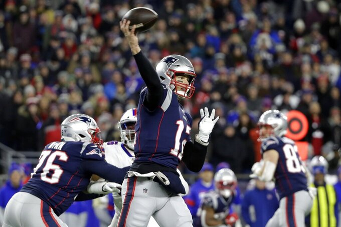 New England Patriots quarterback Tom Brady passes against the Buffalo Bills in the first half of an NFL football game, Saturday, Dec. 21, 2019, in Foxborough, Mass. (AP Photo/Elise Amendola)