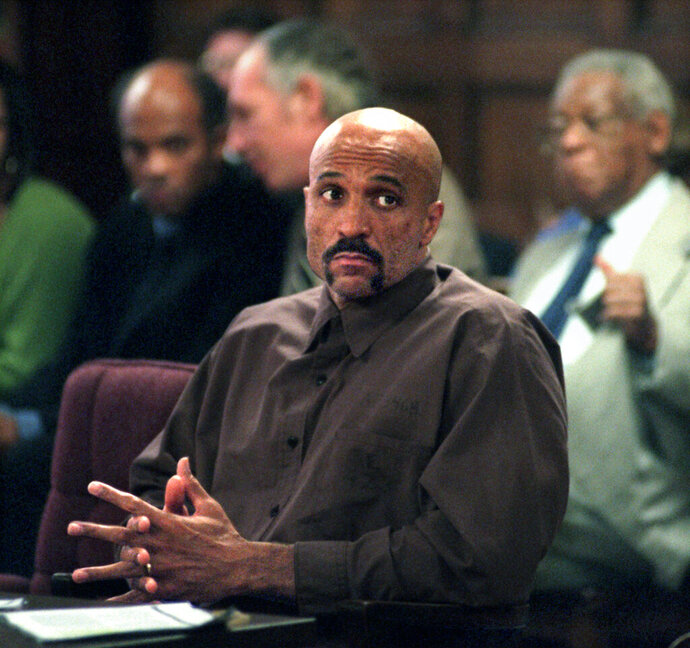 FILE - In this October 1998 file photo Robert Wideman sits in Judge McGregor's court in Pittsburgh. Gov. Tom Wolf has commuted Wideman's sentence, Monday, July 1, 2019, for a 1975 killing, clearing the way for his release. Wideman, the brother of prize-winning author John Edgar Wideman, was sentenced to life without parole in a case that was the subject of his older brother's 1984 acclaimed memoir,