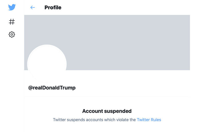 This Friday, Jan. 8, 2021 image shows the suspended Twitter account of President Donald Trump. On Friday, the social media company permanently suspended Trump from its platform, citing