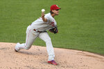 Philadelphia Phillies starting pitcher Aaron Nola throws during the second inning of the team's baseball game against the Washington Nationals, Wednesday, Aug. 26, 2020, in Washington. (AP Photo/Nick Wass)