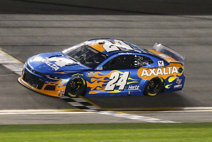 William Byron crosses the finish line to win the second of two NASCAR Daytona 500 qualifying auto races at Daytona International Speedway, Thursday, Feb. 13, 2020, in Daytona Beach, Fla. (AP Photo/Terry Renna)