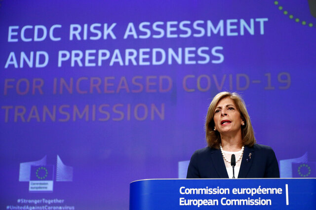 European Commissioner for Health, Stella Kyriakides, speaks regarding the updated coronavirus (COVID-19) risk assessment during a media conference at EU headquarters in Brussels, Thursday, Sept. 24, 2020. (Francois Lenoir, Pool via AP)