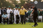 Lee Elder and Jack Nicklaus watch as Gary Player hits the ceremonial first tee during the first round of the Masters golf tournament on Thursday, April 8, 2021, in Augusta, Ga. (AP Photo/Matt Slocum)