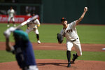 San Francisco Giants starting pitcher Tyler Anderson (31) delivers a pitch against the Seattle Mariners during the first inning of a baseball game, Thursday, Sept. 17, 2020 in San Francisco. (AP Photo/D. Ross Cameron)
