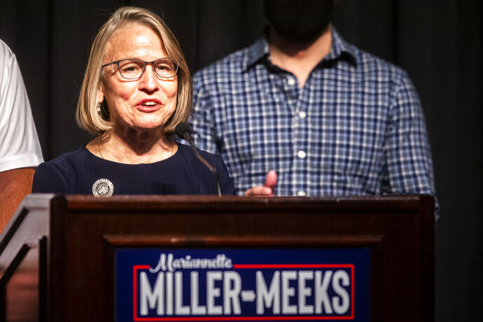 Republican state Sen. Mariannette Miller-Meeks speaks to reporters during an election night watch party, early Wednesday, Nov. 4, 2020, in Riverside, Iowa. Miller-Meeks is running for the seat in the state's 2nd Congressional District. (Joseph Cress/Iowa City Press-Citizen via AP)