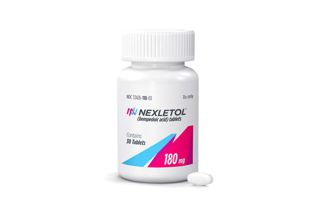 This undated photo provided by Esperion Inc. shows the cholesterol-lowering drug Nexletol made by Esperion Therapeutics Inc.  The Food and Drug Administration on Friday, Feb. 21, 2020  approved Esperion Therapeutics Inc.'s Nexletol for people genetically predisposed to have sky-high cholesterol and others who have heart disease and need to further lower their bad cholesterol.(Esperion Inc. via AP)