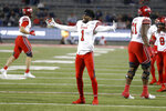 Utah defensive back Jaylon Johnson (1) celebrates running back TJ Green's touchdown against Arizona during an NCAA college football game Saturday, Nov. 23, 2019, in Tucson, Ariz. (AP Photo/Rick Scuteri)