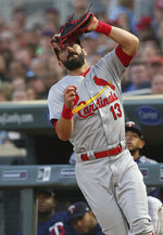 St. Louis Cardinals first baseman Matt Carpenter pulls in a pop foul off the bat of Minnesota Twins' Max Kepler for the out during the fourth inning of a baseball game Tuesday, May 15, 2018, in Minneapolis. (AP Photo/Jim Mone)