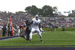 Michigan State cornerback Josh Butler (19) gets called for a pass interference penalty against Northwestern wide receiver Bennett Skowronek (88) during the first half of an NCAA college football game, Saturday, Sept. 21, 2019, in Evanston, Ill. (AP Photo/David Banks)