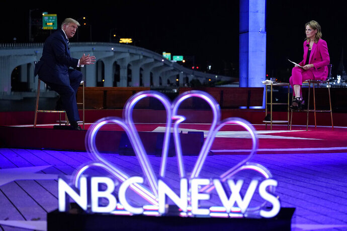 President Donald Trump speaks during an NBC News Town Hall with moderator Savannah Guthrie, at Perez Art Museum Miami, Thursday, Oct. 15, 2020, in Miami. (AP Photo/Evan Vucci)