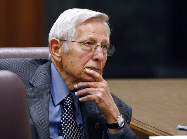 FILE - In this Jan. 13, 2016, file photo, Bob Dearing listens to opening arguments before a Mississippi Senate committee on his recent disputed election victory, at the Capitol in Jackson, Miss. Former state Sen. Dearing, of Natchez, who worked to expand highways, legalize casino gambling and strengthen laws against animal cruelty, died Thursday, July 30, 2020, at home, a funeral home said. He was 85. Dearing was a Democrat who was first elected to the state Senate in 1979. He served 32 years before he was defeated in 2011 by Republican Melanie Sojourner. In a 2015 rematch, Dearing defeated Sojourner. He chose not to seek reelection in 2019. (AP Photo/Rogelio V. Solis, File)