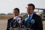 Sen. Chris Murphy, D-C.T., right, and Sen. Richard Blumenthal, D-C.T., give a press conference at the military airbase in Beirut airport, Lebanon, Wednesday, Sept. 1, 2021. A delegation of four U.S. senators visiting Lebanon promised to work on easing Lebanon's crippling economic crisis. (AP Photo/ Hassan Ammar)