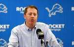 FILE - In this April 18, 2019, file photo, Detroit Lions general manager Bob Quinn addresses the media in his annual pre-draft news conference in Allen Park, Mich. The 2020 NFL Draft is April 23-25.(AP Photo/Carlos Osorio, File)
