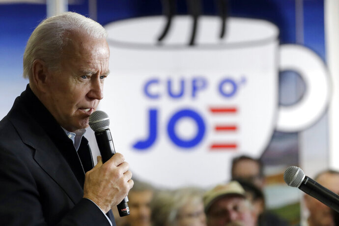Democratic presidential candidate former Vice President Joe Biden speaks during a campaign event Tuesday, Jan. 28, 2020, in Muscatine, Iowa. (AP Photo/Marcio Jose Sanchez)