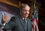 FILE - In this Oct. 24, 2019, file photo, Sen. Lindsey Graham, R-S.C., speaks during a news conference at the Capitol in Washington. Republicans have no unified argument in the impeachment inquiry of Donald Trump in large part because they can't agree on how to defend the president.  (AP Photo/J. Scott Applewhite, File)