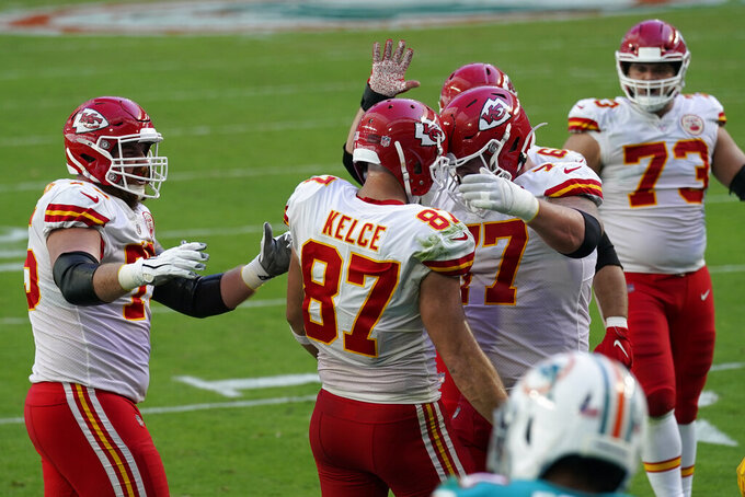 Kansas City Chiefs tight end Travis Kelce (87) is congratulated by his teammates after scoring a touchdown during the first half of an NFL football game against the Miami Dolphins, Sunday, Dec. 13, 2020, in Miami Gardens, Fla. (AP Photo/Lynne Sladky)