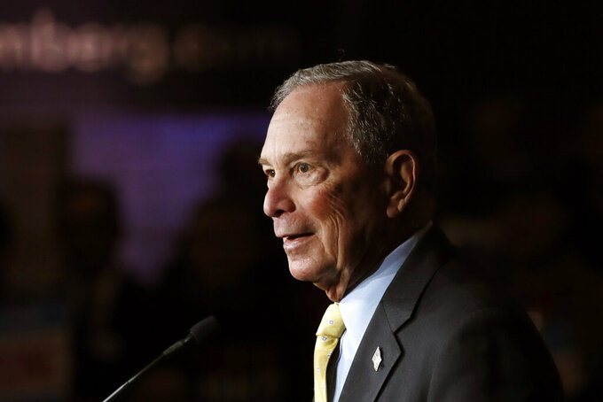 FILE - In this Tuesday, Feb. 4, 2020, file photo, then-Democratic presidential candidate and former New York City Mayor Michael Bloomberg talks to supporters, in Detroit. Four historically Black medical schools are getting $6 million to expand coronavirus vaccination efforts in minority communities. Former New York Mayor Michael Bloomberg's philanthropy announced the gifts Tuesday, April 13, 2021, to Howard University College of Medicine in Washington, Meharry Medical College in Nashville, Tennessee, Morehouse School of Medicine in Atlanta and Charles R. Drew University of Medicine in Los Angeles. (AP Photo/Carlos Osorio, File)