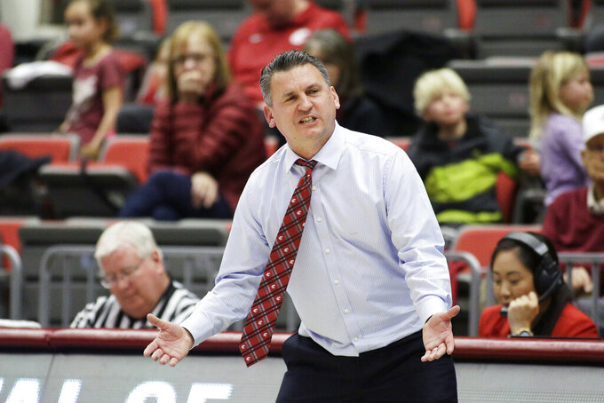 Washington State head coach Kyle Smith reacts to an official's call during the second half of an NCAA college basketball game against Stanford in Pullman, Wash., Sunday, Feb. 23, 2020. Stanford won 75-57. (AP Photo/Young Kwak)