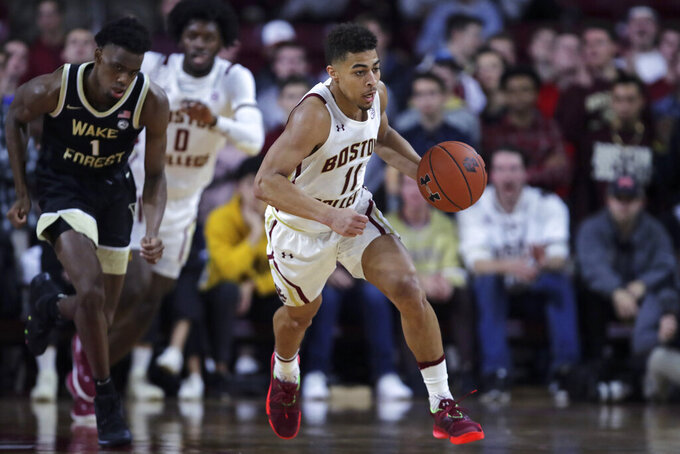 Boston College guard Derryck Thornton (11) drives down court against Wake Forest during the second half of an NCAA college basketball game in Boston, Wednesday, Nov. 6, 2019. Thornton scored 23 in Boston College's 77-70 win. (AP Photo/Charles Krupa)