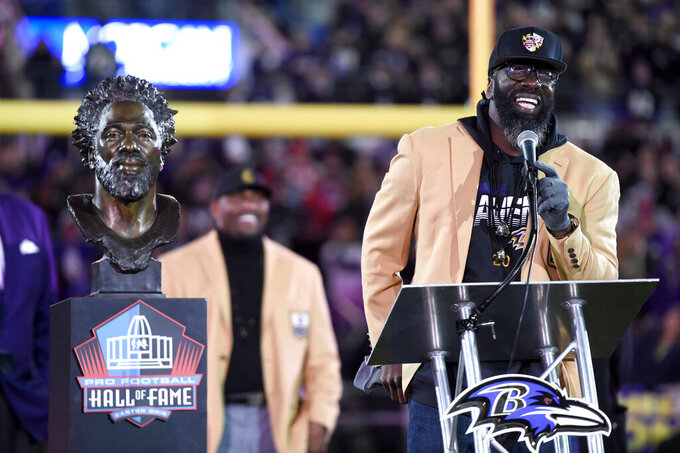 Former Baltimore Ravens safety Ed Reed speaks during halftime ceremony presenting him his Pro Football Hall of Fame ring during an NFL football game between the Ravens and the New England Patriots, Sunday, Nov. 3, 2019, in Baltimore. (AP Photo/Gail Burton)