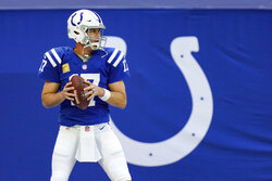 Indianapolis Colts quarterback Philip Rivers (17) throws during warm ups before an NFL football game against the Baltimore Ravens in Indianapolis, Sunday, Nov. 8, 2020. (AP Photo/AJ Mast)