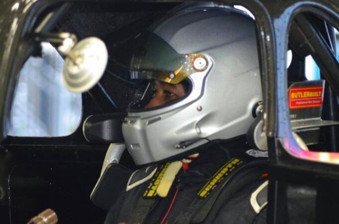 In this July 7, 2020 photo provided by NASCAR, Rajah Caruth competes in the Summer Shootout at Charlotte Motor Speedway in Concord, N.C.  The sport has renewed optimism that its diversity program can field a bumper crop of promising prospects. Caruth might the one who can help lead the way. (NASCAR photo via (AP)