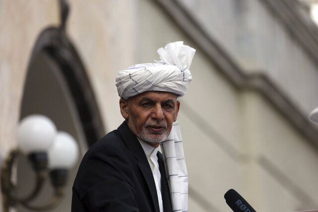 Afghan President Ashraf Ghani speaks after he was sworn in at an inauguration ceremony at the presidential palace in Kabul, Afghanistan, Monday, March 9, 2020. (AP Photo/Rahmat Gul)