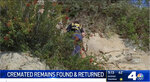 This Wednesday, Jan. 22, 2020 video image courtesy of NBC4 shows a coastal clean-up crew retrieving a box with cremated human remains found in a cliff in Long Beach, Calif. The California coastal cleanup crew ended months of anguish for a grieving family with the discovery of cremated remains of loved ones that had been in a van that was stolen before a funeral service. Damadis Sanchez was 34 when she was killed along with her 8-year-old son, Anthony, in a traffic accident in Texas. Her brother, Gerson Lopes, had their remains returned to the family near LA. Last April, the family was preparing for a memorial service when a van with the ashes inside was stolen. Lopes says it was like a weight off his shoulders to finally get the remains. (NBC4-TV via AP)