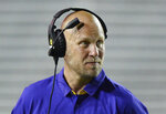 FILE - In this April 22, 2017, file photo, then-LSU offensive coordinator Matt Canada watches during the first half of the NCAA college football team's spring game in Baton Rouge, La. Canada is scheduled to make his debut as Maryland coach on Saturday against Texas. (Hilary Scheinuk/The Advocate via AP, File)