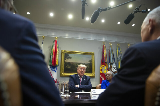 President Donald Trump speaks during a small business roundtable in the Roosevelt Room of the White House, Friday, Dec. 6, 2019, in Washington. (AP Photo/ Evan Vucci)
