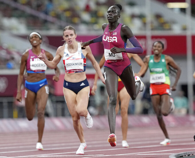 Athing Mu, of United States wins the gold medal ahead of Keely Hodgkinson, of Britain in the final of the women's 800-meters at the 2020 Summer Olympics, Tuesday, Aug. 3, 2021, in Tokyo, Japan. (AP Photo/Martin Meissner)