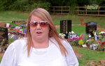 In this image taken from video, Nicola Bowler talks to the Associated Press in the cemetery where her father is buried, in Birmingham, England, Tuesday Sept. 10, 2019. Nicola Bowler has been surprised after she released a helium balloon in Birmingham earlier this month to commemorate the anniversary of her father's death. The balloon ended up traveling more than 1,000 miles (1,700 kilometers), crossing land and sea to land in a field in northern Poland. (AP Photo)