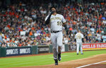 Pittsburgh Pirates' Josh Bell (55) celebrates after hitting a two-run home run against the Houston Astros during the third inning of a baseball game Thursday, June 27, 2019, in Houston. (AP Photo/David J. Phillip)