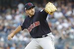 Cleveland Indians' Aaron Civale delivers a pitch during the first inning of a baseball game against the New York Yankees, Friday, Aug. 16, 2019, in New York. (AP Photo/Frank Franklin II)