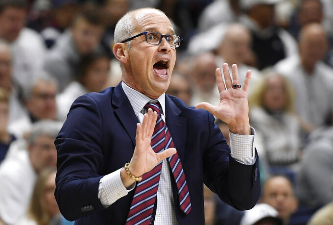 Connecticut head coach Dan Hurley reacts during the first half of an NCAA college basketball game against Florida, Sunday, Nov. 17, 2019, in Storrs, Conn. (AP Photo/Jessica Hill)