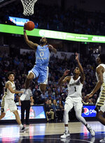 North Carolina's Seventh Woods (0) goes to the basket for two against Wake Forest during an NCAA college basketball game in Winston-Salem, N.C.,  Saturday, Feb 16, 2019. (AP Photo/Woody Marshall)