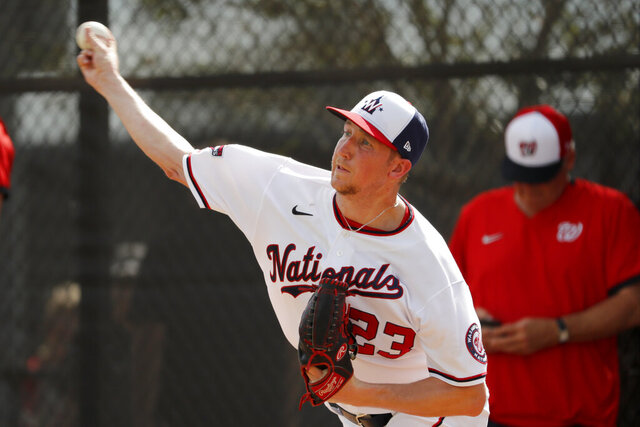 Washington Nationals pitcher Erick Fedde throws a bullpen session during spring training baseball practice Monday, Feb. 17, 2020, in West Palm Beach, Fla. (AP Photo/Jeff Roberson)