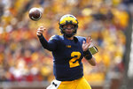 Michigan quarterback Shea Patterson throws a pass against Nebraska in the first half of an NCAA football game in Ann Arbor, Mich., Saturday, Sept. 22, 2018. (AP Photo/Paul Sancya)