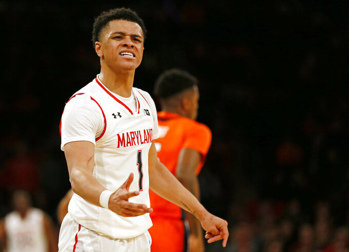 Maryland guard Anthony Cowan Jr. (1) reacts to a call during the second half of an NCAA college basketball game against Illinois, Saturday, Jan. 26, 2019, in New York. Illinois defeated Maryland 78-67. (AP Photo/Adam Hunger)