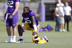 LSU linebacker Michael Divinity Jr. (45) works out during their NCAA college football practice in Baton Rouge, La., Wednesday, Aug. 7, 2019. (AP Photo/Gerald Herbert)