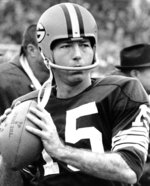 FILE - In this Jan. 26, 1967, file photo, Green Bay Packers quarterback Bart Starr is shown. Starr, the Green Bay Packers quarterback and catalyst of Vince Lombardi's powerhouse teams of the 1960s, has died. He was 85. The Packers announced Sunday, May 26, 2019, that Starr had died, citing his family. He had been in failing health since suffering a serious stroke in 2014.  (AP Photo/File)